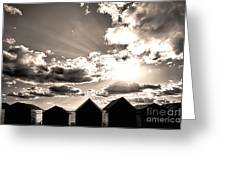 Beach Huts In Black And White Greeting Card