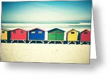 Beach Huts Muizenberg Retro Greeting Card