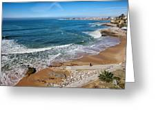 Beach In Resort Town Of Estoril Greeting Card