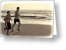 Beach Joggers Greeting Card