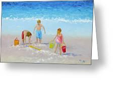 Beach Painting - Sandcastles Greeting Card