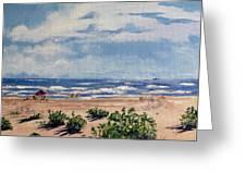 Beach Scene On Galveston Island Greeting Card