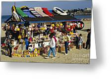 Beach Scene Weymouth Uk 80s Greeting Card by David Davies