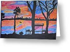 Beach Silhouette Greeting Card by Sonali Gangane