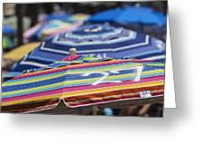 Beach Umbrella Rainbow 2 Greeting Card