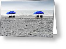 Beach Umbrellas On A Cloudy Day Greeting Card