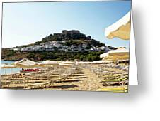 Beach View Of Lindos Greeting Card