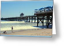 Beach View With Pier 1 Greeting Card