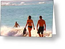 Beach Walkers Greeting Card