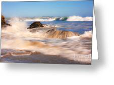 Beach Waves Smoothly Flowing Over The Rocks Fine Art Photography Print Greeting Card
