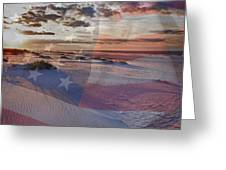 Beach With Flag Greeting Card