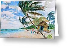 Beach With Palm Trees Greeting Card