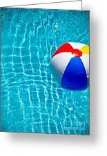 Beachball On Pool Greeting Card