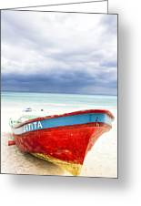 Beached Beyond The Storm - Riviera Maya Greeting Card