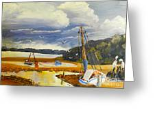Beached Boat And Fishing Boat At Gippsland Lake Greeting Card