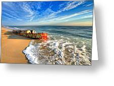 Beached Boat Morning - Outer Banks Greeting Card by Dan Carmichael