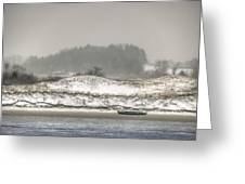 Beached Boat Winter Storm Greeting Card