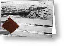 Beachside Warning Horizontal Bw With Colorized Red Sign Greeting Card