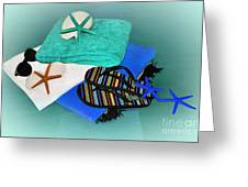 Beachy Things - Aqua Blue Greeting Card