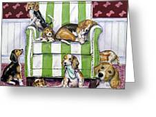 Beagle Mania Greeting Card by Chris Dreher