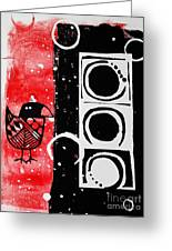 Beak In Red And Black Greeting Card by Cynthia Lagoudakis
