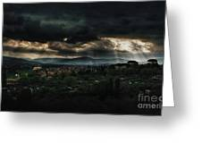 Beams Of Light Over Florence Greeting Card