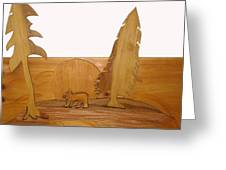 Bear Between Two Trees Greeting Card