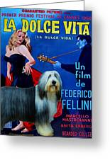 Bearded Collie Art Canvas Print - La Dolce Vita Movie Poster Greeting Card