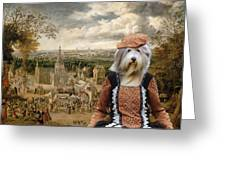 Bearded Collie Art Canvas Print Greeting Card