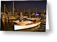 Beaufort Sc Night Harbor Greeting Card by Reid Callaway