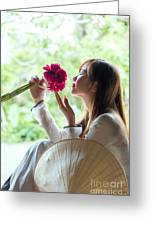 Beautiful Asian Woman With Flowers - Vietnam Greeting Card