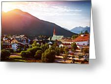 Beautiful City In The Mountains Greeting Card
