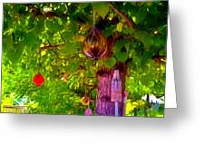 Beautiful Colored Glass Ball Hanging On Tree 2 Greeting Card