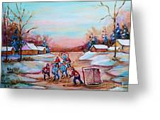 Beautiful Day For Pond Hockey Winter Landscape Painting  Greeting Card