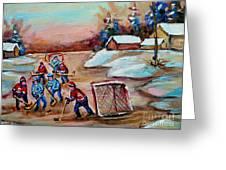 Beautiful Day-pond Hockey-hockey Game-canadian Landscape-winter Scenes-carole Spandau Greeting Card