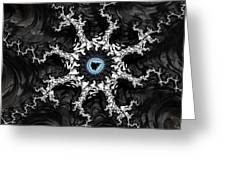 Beautiful Fractal Artwork Black White And Blue Greeting Card