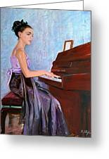 Beautiful Girl Playing Piano Greeting Card