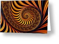 Beautiful Golden Fractal Spiral Artwork  Greeting Card by Matthias Hauser