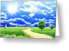 Beautiful Green Field Greeting Card by Boon Mee