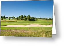 Beautiful Green Golf Course And Blue Sky Greeting Card