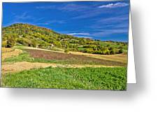 Beautiful Green Hill With Vineyard Cottages Greeting Card