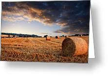 Beautiful Hay Bales Sunset Landscape Digital Paitning Greeting Card