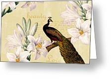 Beautiful Lilies Peacock Greeting Card