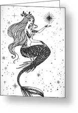 Beautiful Mermaid With Star In Her Greeting Card