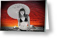 Beautiful Model And A Sunset  Greeting Card