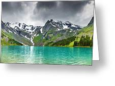 Beautiful Mointain And Lake Art Greeting Card