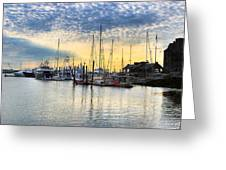 Beautiful Morning On Boston Waterfront Greeting Card by Mark E Tisdale