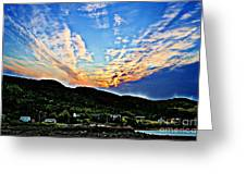Beautiful Sky Over The Harbour Digital Painting Greeting Card