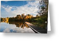 Beautiful Sunset Over Autumn Fall Lake With Crystal Clear Reflec Greeting Card