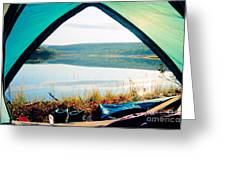 Beautiful View Of Calm Lake Looking Out Of Tent Greeting Card